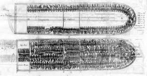 Slave ships traversing the Middle Passage