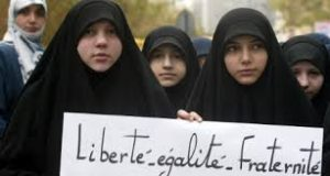 Protest against the French ban on the burqa