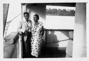 Stuart Hall with his mother, Jessie, on the boat to England from Jamaica, 1951. Photograph: Courtesy Stuart Hall estate / Allen Lane